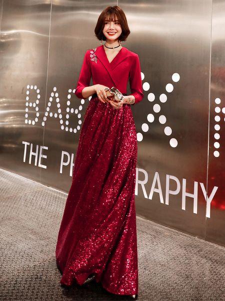 Sparkly Lace paillettes 2019 robes de soirée arabes col en V 3/4 manches longues robes de bal A-ligne Sexy robes de demoiselle d'honneur formelle pas cher
