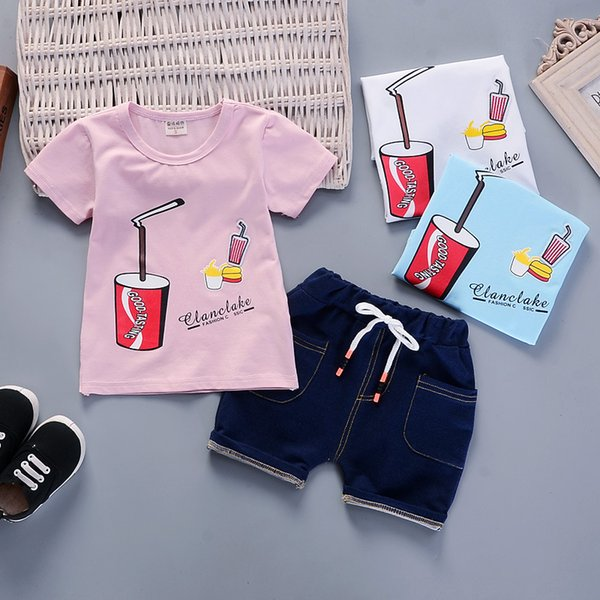 good quality summer baby boys clothing sets tracksuit children kid us siza short sleeve O-neck t-shirt+pants summer children outfit