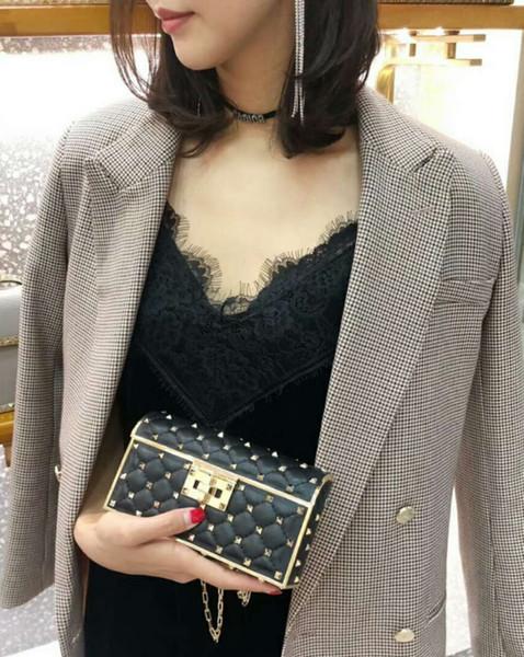 brand new genuine sheep skin leather high fashion show handbag diamond lattice metallic full starts stud evening mini cluth chain bag OL18cm