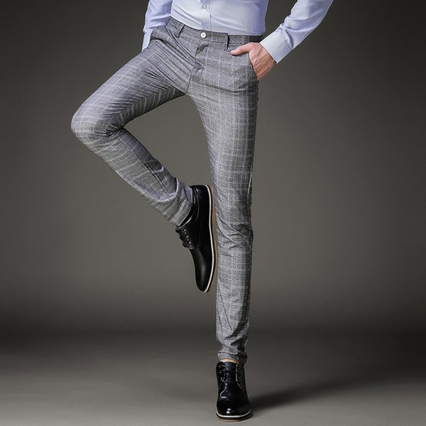 TANG Pantalon À Carreaux D'affaires Casual Plus La Taille De Mariage Pantalon Costumes Hommes Pantalons De Mode Hommes Robe Pantalon D'été Formel Slim