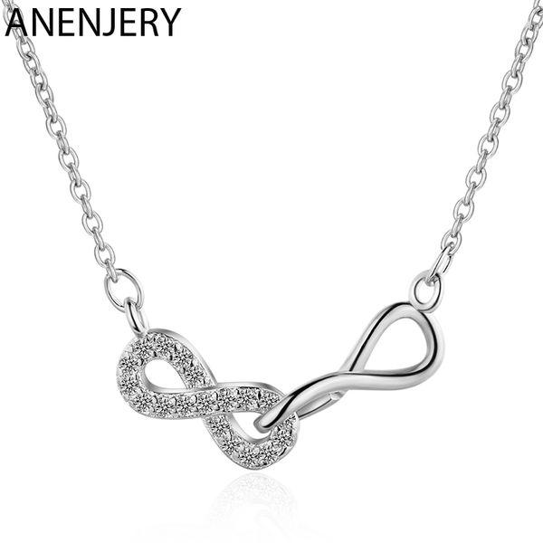 ANENJERY Personalizar Infinito colar Amizade Pendant 925 Sterling Silver Pendant Zircon jóias para Best Friend presente S-N473