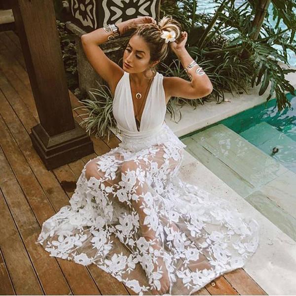 Playa vestidos de verano femenino de la mujer traje de baño 2019 de la cubierta atractiva de vestir de cuello de encaje sin espalda Sólido Acetato Sierra Surfer más el tamaño