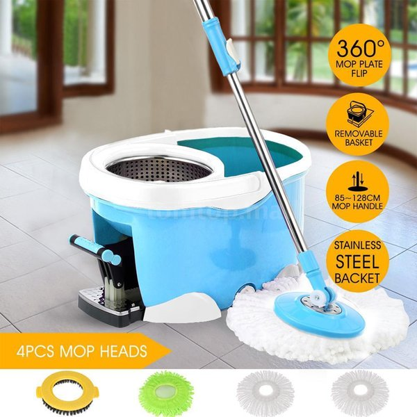 360°Spin Mop Stainless Steel Bucket Set Rotating Magic Floor w/ 4 Heads