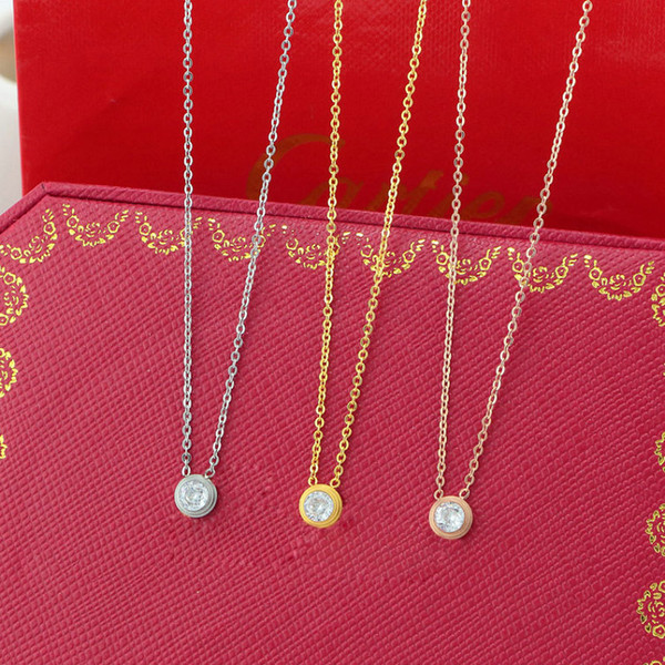 top popular Singel CZ diamond Pendant Rose Gold Silver Color Necklace for Women Vintage Collar Costume Jewelry only with bag 2021