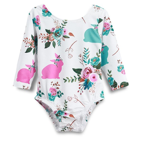 Newborn Baby Girl Rompers Rabbit Flower Printing Plush Tail Round Collar Long Sleeve Rompers Easter Baby Jumpsuit