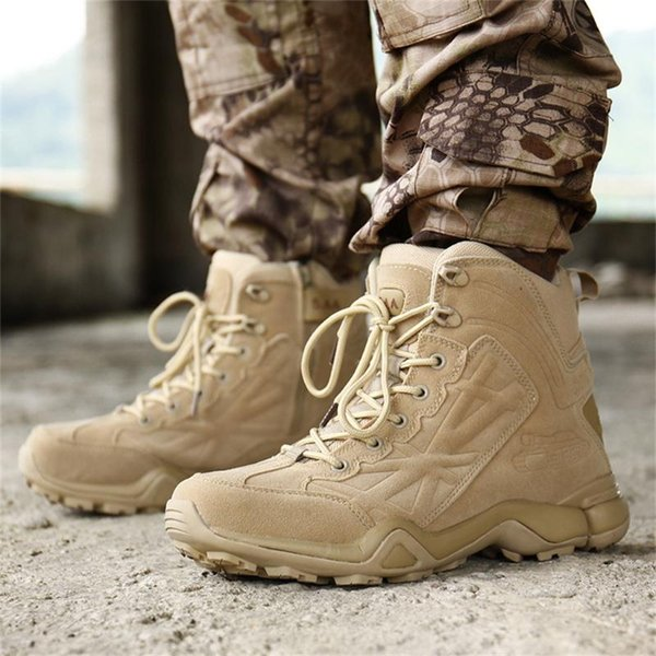 2019 men boots fashion desert tactical boots wear-resisting outdoor hihking shoes men's lace up ankle boot thumbnail