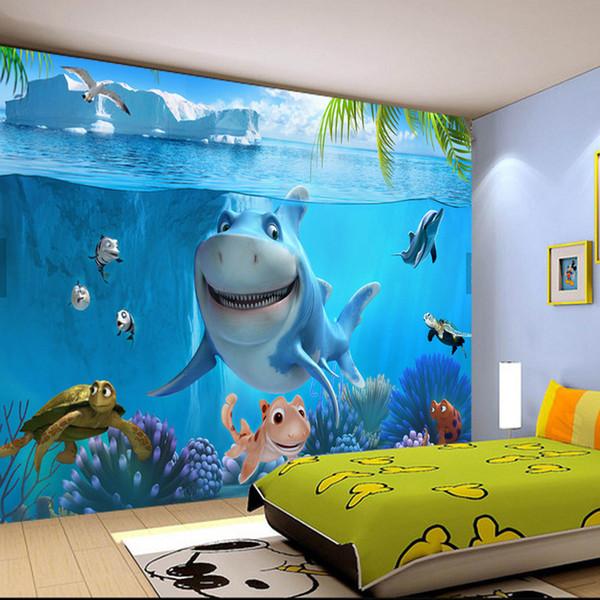 사용자 정의 3D 벽화 배경 부직포 어린이 벽면 취재 벽지 3D 스테레오 바다 세계 3D 아이 사진 벽지 홈 장식
