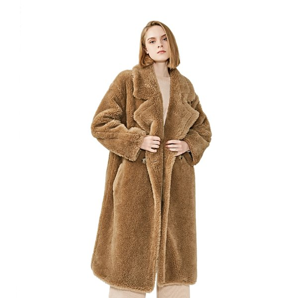 MAOMAOFUR 100% Real Wool Teddy Coat Ladies Winter Fashion Real Sheep Fur Jacket Female Warm Oversize Clothing Wool Outerwear SH190930