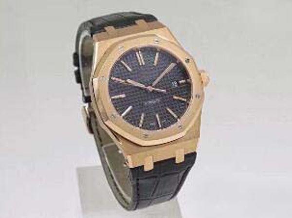 Relojes mecánicos automáticos para hombre de lujo superior 3120 ROBLE REAL Oro rosa Acero inoxidable Transparente Cuero negro Reloj de pulsera moderno para hombre