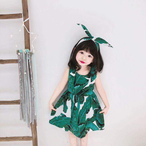 2019 Summer kids dress girls leaves printed vest dress children round collar sleeveless princess dress+rabbit ear headband 2pcs sets F4804