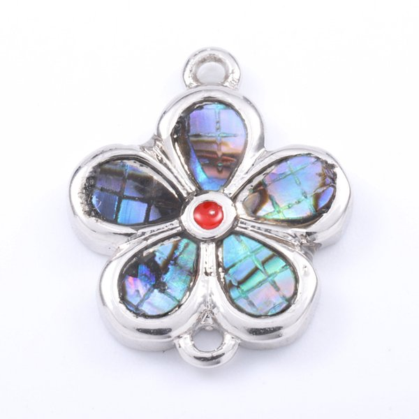 Singreal Abalone Shell Micro Pave Flower shaped Charms Bracelet necklace Choker Pendant connectors for women DIY Jewelry making