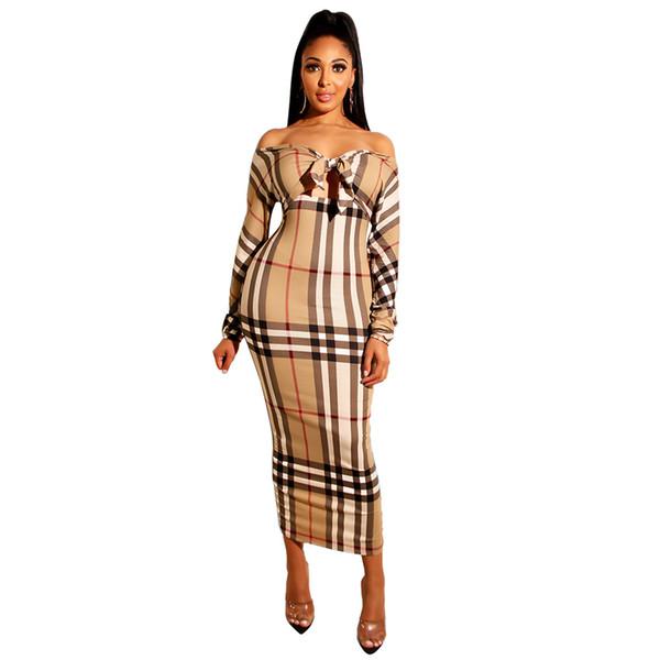 Sexy Plaid stampa Slash Neck Knot Bodycon Abiti Fashion Designer Casual Hollow Mini Skirt Night Party Abbigliamento