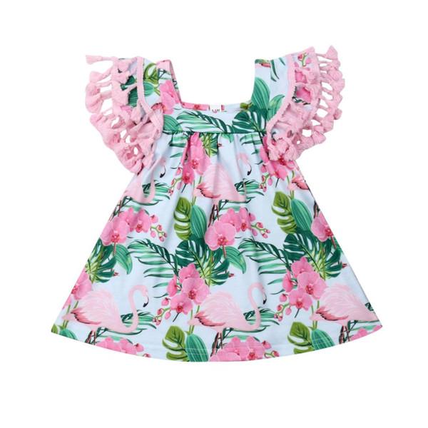 Baby Girl Flamingo Dress Infant Toddler Fly Sleeve Mini Flower Dresses Clothes