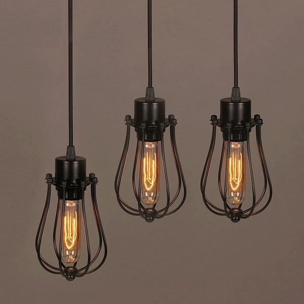 Freie Verschiffen Weinlese-Glühlampe Retro industrielles Edison 1 helles Metallfarbton-Deckenpendelleuchten-Befestigungs-Schwarzes mit Birne
