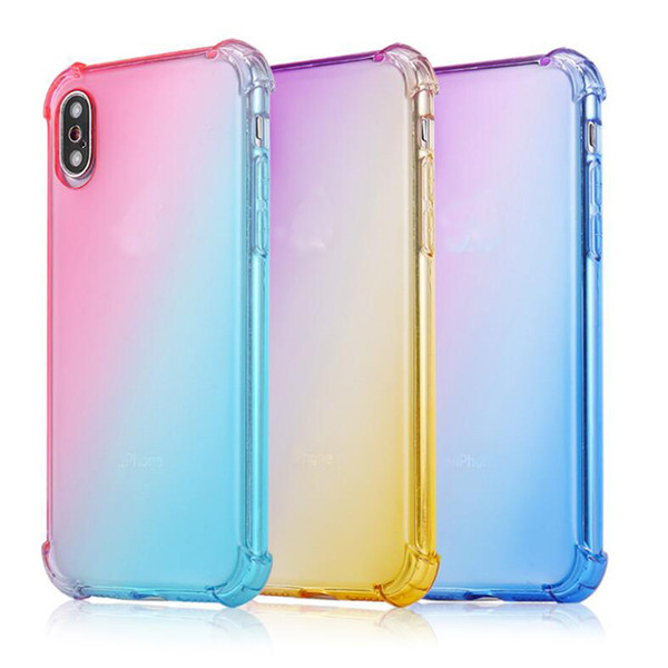 Soft TPU Air Bag Cases Gradient Colors Anti Shock Airbag Soft Clear Cases For IPhone XR XS MAX 8 7Plus 6S Newest Arrival Cradle Design