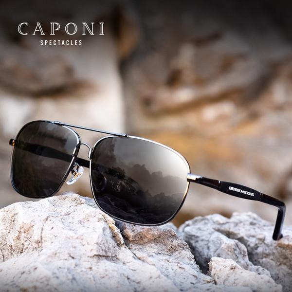 Caponi homens óculos polarizados óculos de sol de aço inoxidável óculos de condução retângulo máscaras para homens oculos masculino bs10001 y19052004