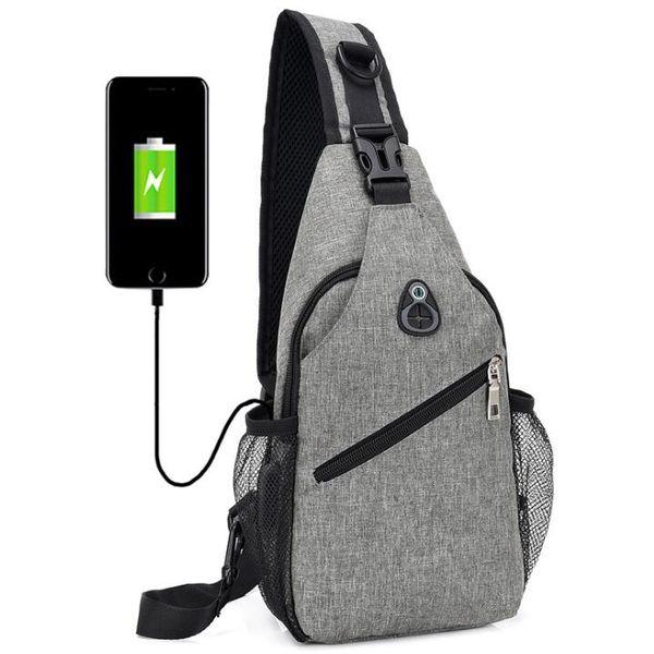 top popular Cross body Bag Men Polyester USB Chest Bag Sling bag Large Capacity Sport Cycling Bags 3Colors 2021