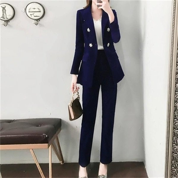 Fashion gold velvet suit suit female winter new high-end temperament thickening small + feet pants two-piece girl clothes