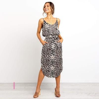 Femmes Robes Robe léopard luxe d'été fines bretelles robe sans manches pour femmes sexy Robes Tops Femme Vêtements Robes