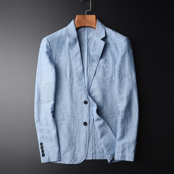 Тан высокое качество новое прибытие блейзер человек новый льняной пиджак осень повседневная Mianma мужской однобортный размер M-L-XL-2XL-4XL