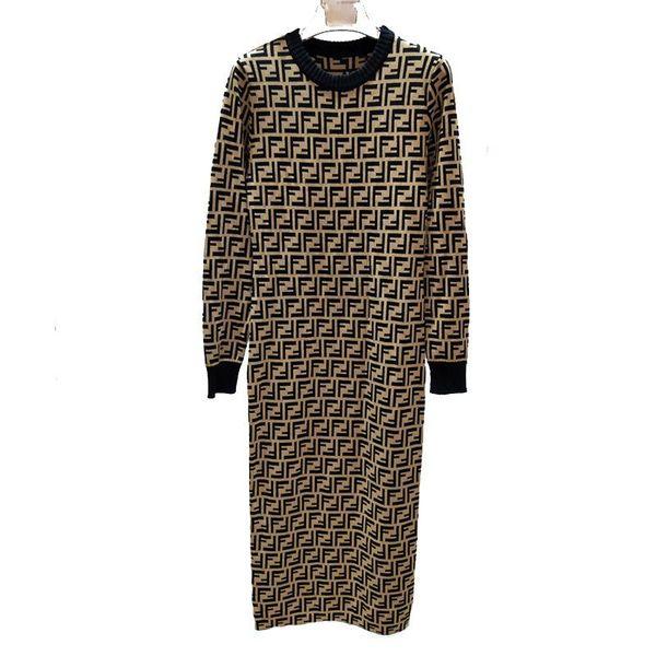 Autumn And Winter Long Sleeve Full Dress Skirt Waist Temperament Round Neck F Letter Longuette