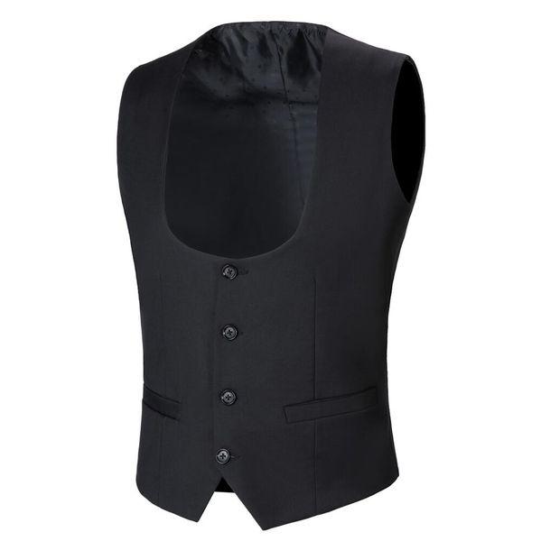 Black Men Suit Vest 4 Buttons Classic Dress Slim Fit Vests Male Sleeveless Brand Mens Formal Wedding Waistcoat