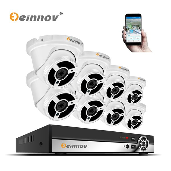 Einnov 8ch 1080P security camera system wireled with recording video surveillances kit ip cctv poe camera system 2MP 8*20m Cable