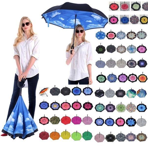 Paraguas Inverso Plegable 85 Estilos Doble Capa Invertida Manija Larga A Prueba de Viento Lluvia Paraguas Coche C Manija Paraguas T2I384