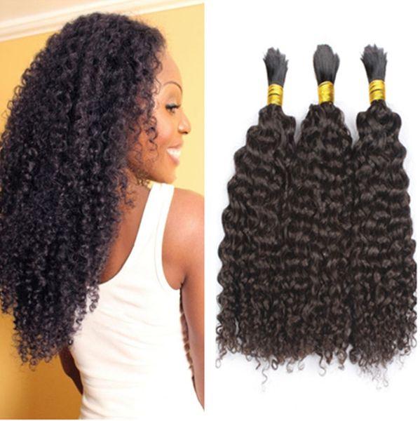 Необработанные человеческие волосы плетение навалом кудрявый вьющиеся нет уток монгольские волосы навалом натуральный черный 3 шт. лот