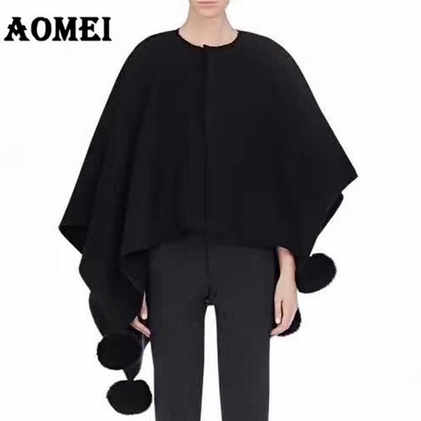Frauen Herbst Winter Tops Wolle Gestrickte Pullover Unregelmäßige Länge mit Fox Hair Bulb Femme Pullover Kleidung Schwarz Kamel Lose Mantel