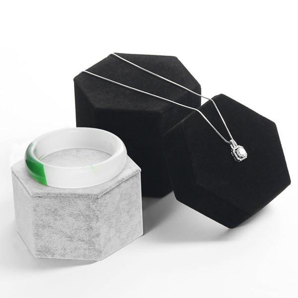 Velvet Wedding Ring Display Stand Hexagon Bracelet Jewelry Organizer Unique Necklace Pendant Display Holder For Jewellery Bangle