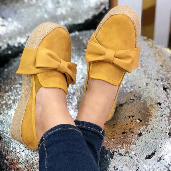 2019 Katı Kadınlar Flats Platformu Ayakkabı Casual Canvas Shoes Slip On LOOZYKIT Knot Kalın Dip Lazy Loafers espadrilles Bow