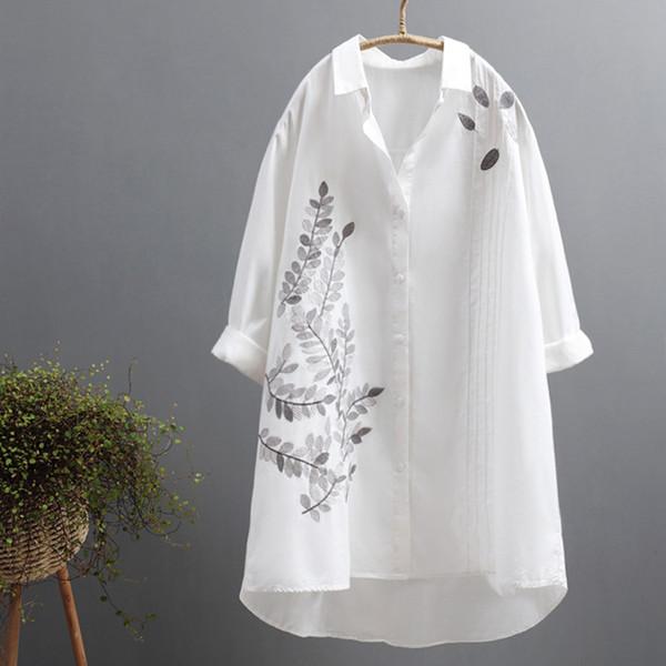 2019 outono nova flor bordado mulheres blusa longa e senhora do escritório branco camisas casuais outwear elegante
