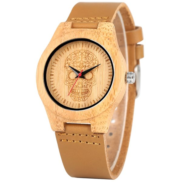 Special Pattern Dial Leather Band Wristwatch Durable Lightweight Quartz Analog Bamboo Watch Premium Handmade Bamboo Watches for Men