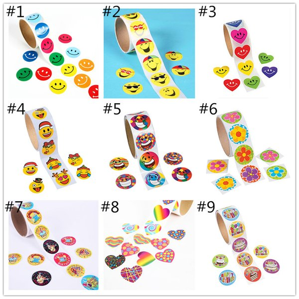 Kids cartoon Handwork adhesive stickers tapes cute Animals Emoji Loving heart Fish Birthday stickers 3.8x3.8cm 100pcs each roll for children