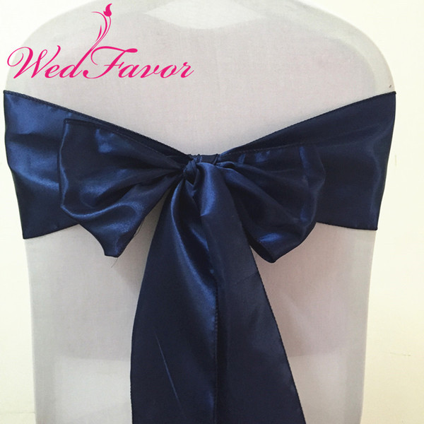 WedFavor 100pcs Navy Blue Wedding Chair Bow Tie Self Tie Satin Chair Sashes For Banquet Hotel Event Decoration