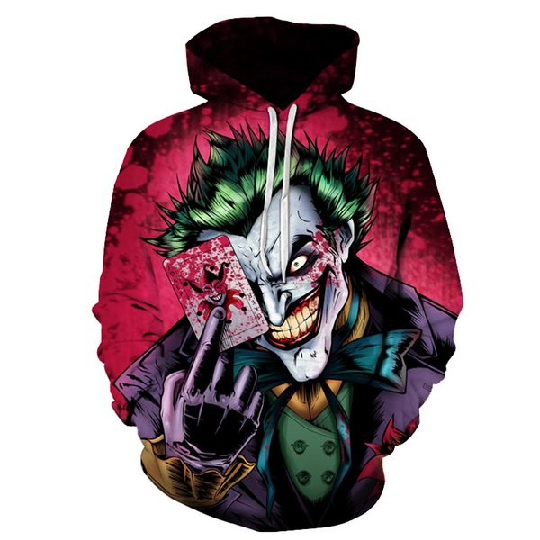 New Sweatshirts Men Brand Hoodies Men Joker 3D Printing Hoodie Male Casual Tracksuits Size S-4XL Wholesale and retail