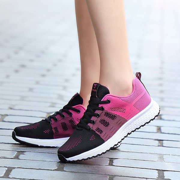 Women Running Shoes Flying Weave Tidal Shoes Women's Soft-soled Light Stitching Flexible Trainers training Chaussures Femm