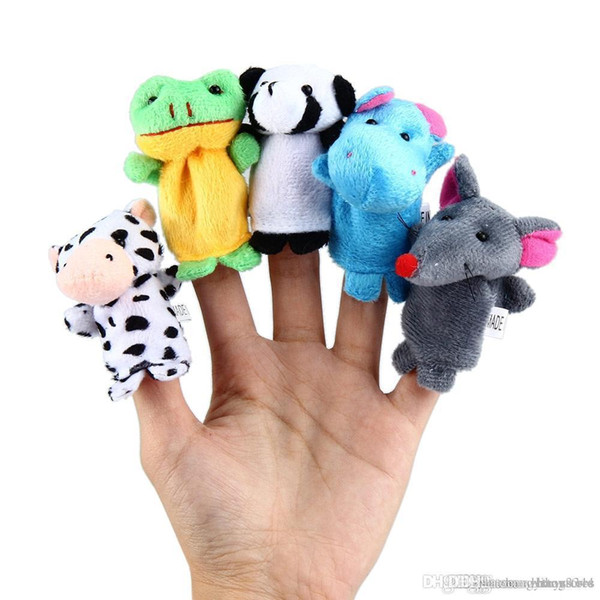 All'ingrosso-10 pezzi Child Puppet Finger Doll Portable Cartoon Zoo Animal Finger Puppets Giocattoli di peluche Bambole Baby bambini educativi mano giocattolo regali