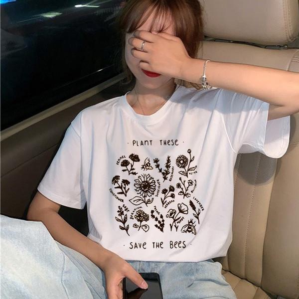 Vegan Save The Bees Harajuku Camiseta Mujer Ullzang Wildflower T-shirt 90s Graphic Cartoon Tshirt Moda Verano Top Tees Mujer
