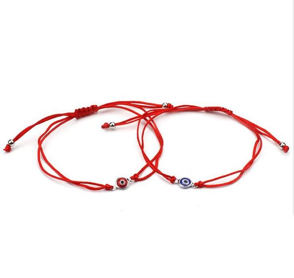 Free ship 20pcs/lot Lucky Red String Rope Bracelet Black Turkish Evil Eye Charm Little Girls Braided Bracelets