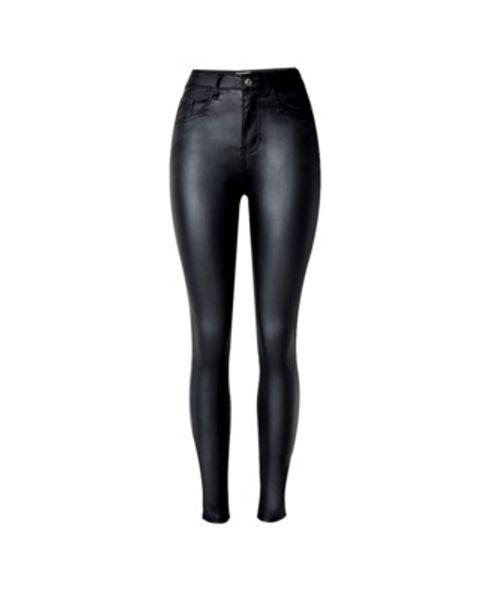 Donne sexy nero PU delle ghette Jeans slim fit Leggings alta elasticità Club Style Stivali Pantaloni in pelle Leggings