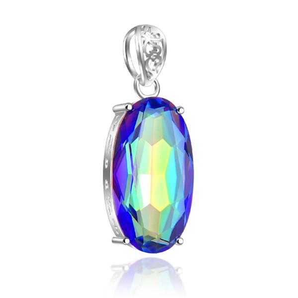 5 Adet / grup LuckyShine Best Seller Oval Kadın Gökkuşağı Kolye Mistik Topaz Kristal Kolye 925 Ayar Gümüş Düğün Kolye Rusya Ameri