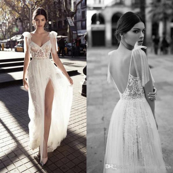 Berta Bohemian Wedding Dresses 2017 Lace V-Neck Side Split Tulle Backless Illusion Bodice Spaghetti Straps robe de mariée Bridal Gowns