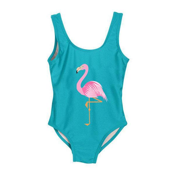 Mode chaude enfants maillot de bain couleur unie doux mignon flamingo 2019 enfants maillot de bain filles lettre imprimer maillot de bain