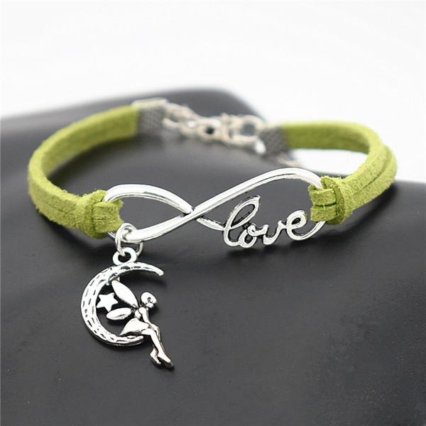 Newest Handmade Vintage Women Men Jewelry PU Green Leather Suede Bracelets Infinity Love Cute Moon Star Fairy Angel Bangles Adjustable Gifts