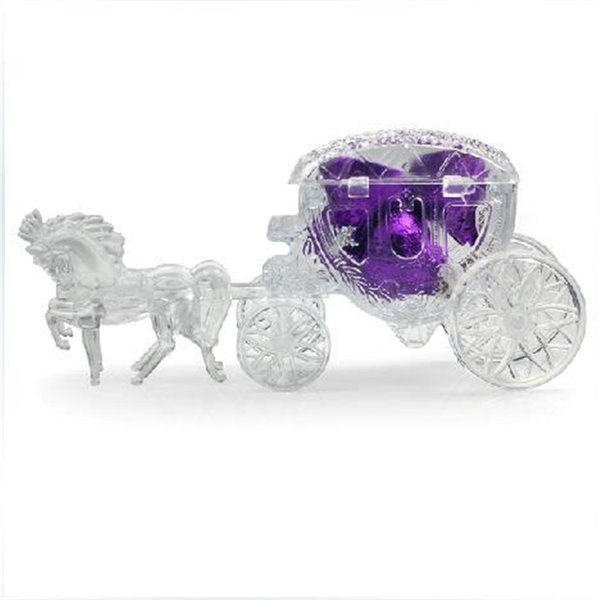 Fairy Tale Carriage Shape Candy Boxes Transparent Golden Silver Gift box Sweet Chocolate Box Wedding Party Supplies