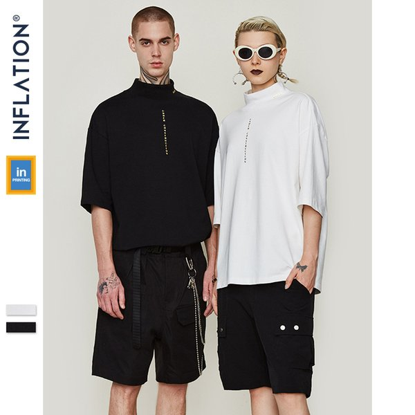 Mens T-shirt Brand clothing Letter Stand Collar Loose Mens Short Sleeve T-Shirt 2019 Spring and Summer New Tide