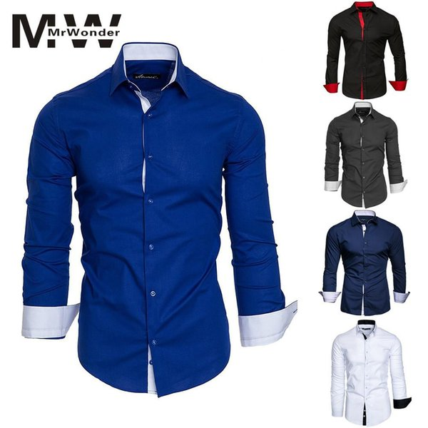 hit color men's causal slim shirt white blue smart causal shirts males 2018 autum new long sleeve men shirts more color san0, White;black