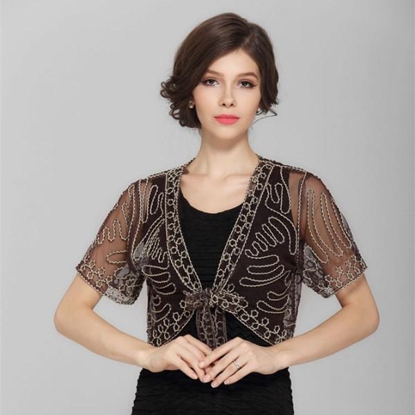 Lace Hook Flower Vintage Sheer Bolero Lace-Up Shawl Coat Summer See-Through Women Short Sleeve Embroidery Thin Mesh Shrug